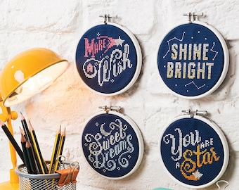 Star Hoops - Cross Stitch Pattern Set  (Digital Format - PDF)