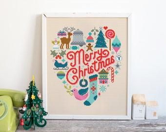 Christmas Heart - Cross Stitch Pattern (Digital Format - PDF)
