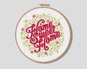 Floral Home Sweet Home - Cross Stitch Pattern (Digital Format - PDF)