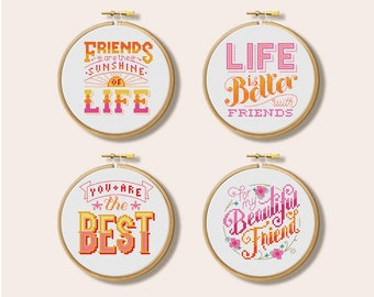 Friend Hoops - Cross Stitch Pattern Set (Digital Format - PDF)