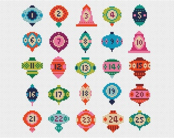 Retro Advent Baubles Cross Stitch Pattern (Digital Format - PDF)