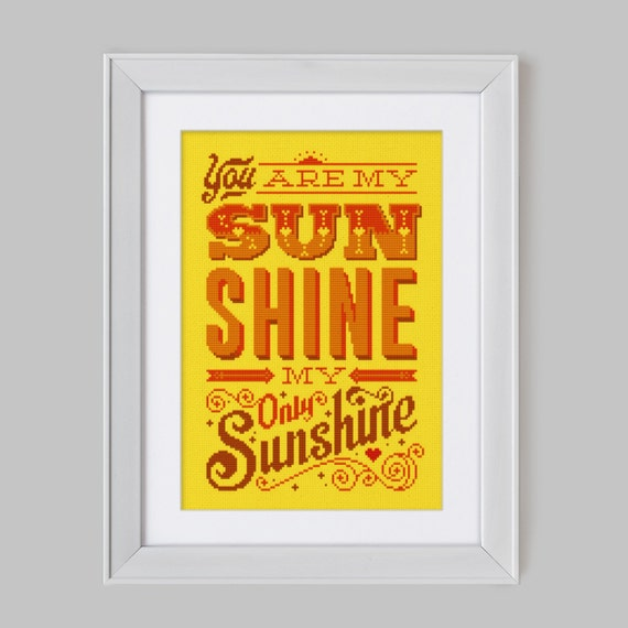 You Are My Sunshine Cross Stitch Pattern Digital Format Etsy