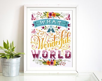 Wonderful World - Modern Cross Stitch Pattern (Digital Format - PDF)