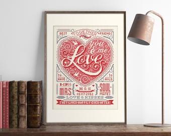 Wedding Love - Customisable Wedding Cross Stitch Pattern (Digital Format - PDF)