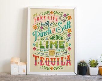 Take life with Tequila - Cross Stitch Pattern (Digital Format - PDF)