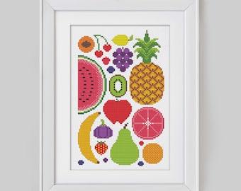 Summer Fruits - Cross Stitch Pattern (Digital Format - PDF)