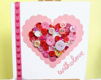 With love card, love card, Valentines card, Anniversary card, button heart card, greeting card, handmade card, Valentines day card