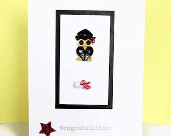 Graduation card, owl graduation card, congratulations card, graduation owl, grad card, card for graduate, handmade card, quilled card