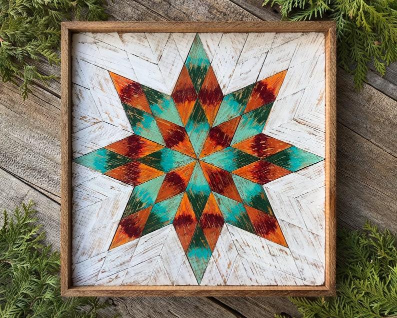8 Point Star Wood Quilt Block Barn Quilt Blocks Wood Wall Decor Burnt Orange Turquoise Wall Art Wooden Barn Quilts Americana Folk Art