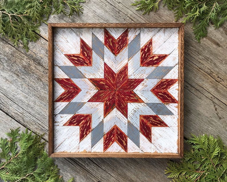 Barn Quilt Wooden Barn Quilt Square Wood Quilt Wall Art Modern Rustic Geometric Wall Decor With Burnt Orange Neutral Gray Colors Star