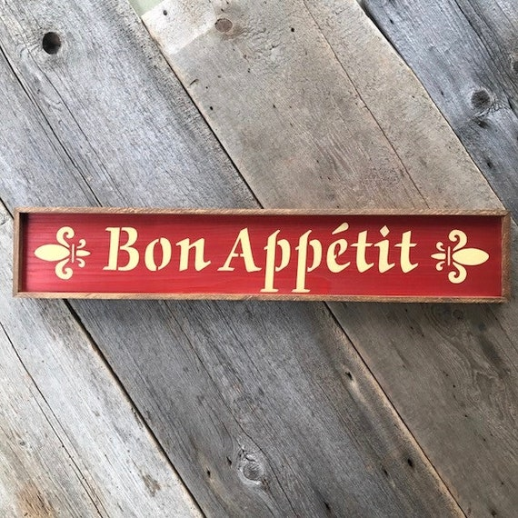 Bon Appetit Sign For Kitchen Kitchen Wall Decor French Etsy