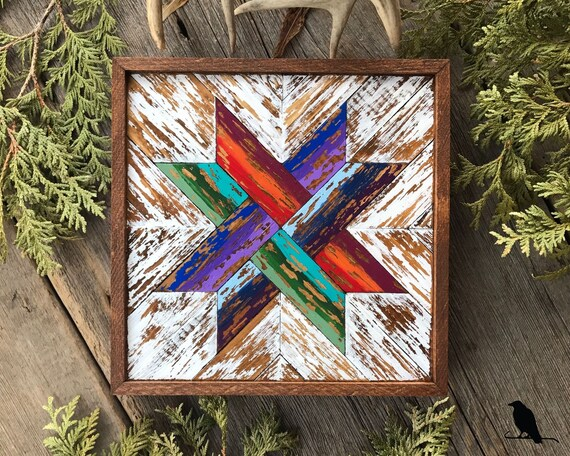 Barn Quilt Wood Wall Art Wooden Quilt Block Square With Woven Ribbon Pattern Colorful Mosaic Wall Art Rustic Wall Decor Cedar Framed
