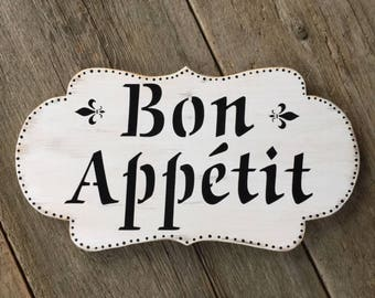 Bon Appetit Sign, Kitchen Decor, Kitchen Sign, Wall Decor, French Country  Style