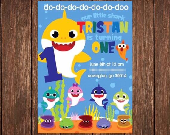 Baby Shark Do Do Doo 1 2 3 4 5 6 7 Custom Birthday Invitation DIGITAL