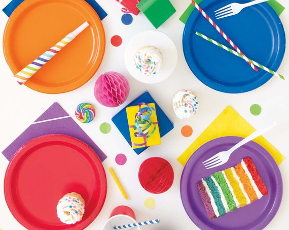 Solid Party Tableware Cups Plates Cutlery Napkins