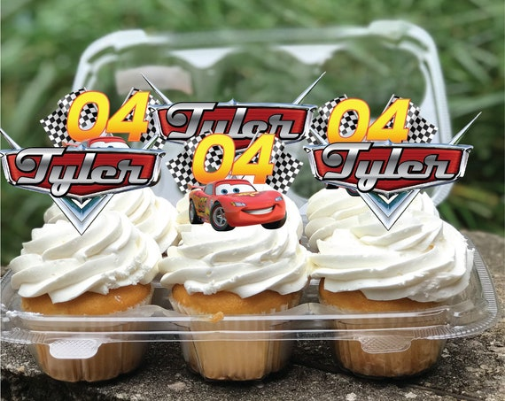 Cars 1 2 3 4 5 Label Cake Cupcake Digital Toppers