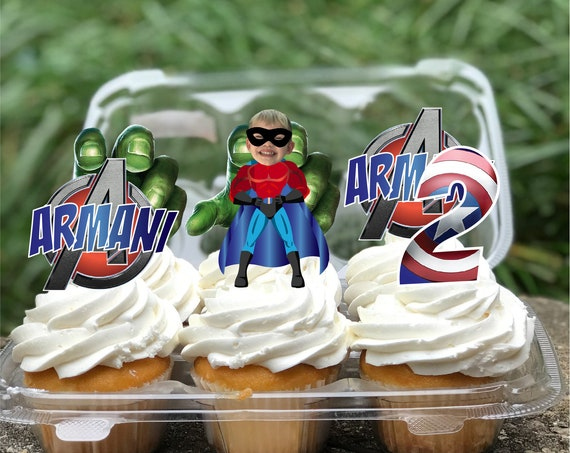 Avengers Hero Marvel Birthday Party Cupcake Toppers