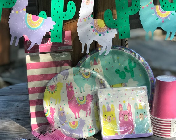 Llama Cactus Baby Shower Birthday Party Kit