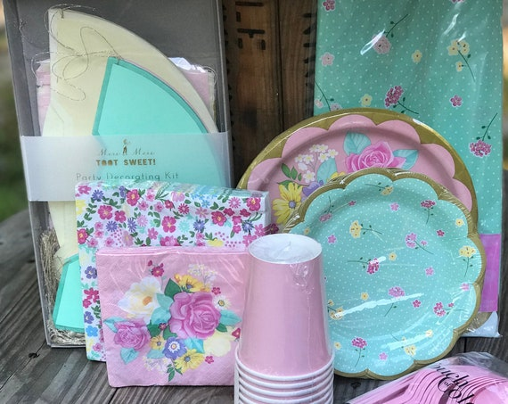 Floral Rustic Vintage Baby Shower Birthday Party Kit 8 ct