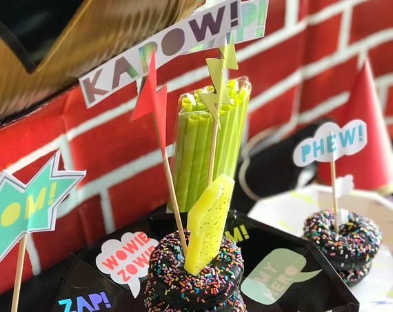Zap! Party Toppers Cake Cupcake, Meri Meri, Super Hero Comic Birthday, Baby, Shower, Party