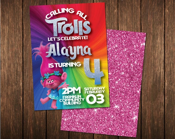 Trolls Poppy Rainbow Glitter Birthday Invitation