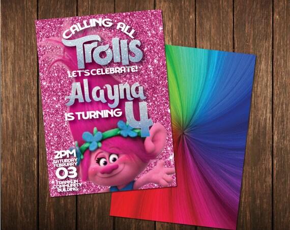 Trolls Poppy Rainbow Glitter Birthday Invitation Digital Printable