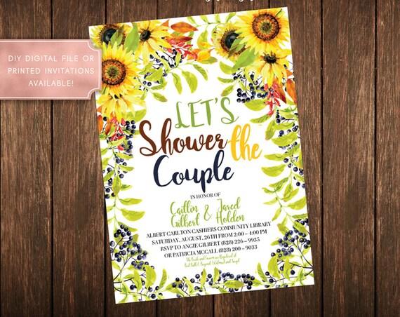 Summer Sunflower Spring Couple Wedding Shower Invitation