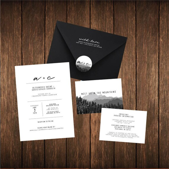 Mountain Wedding Invitation Set PRINTED