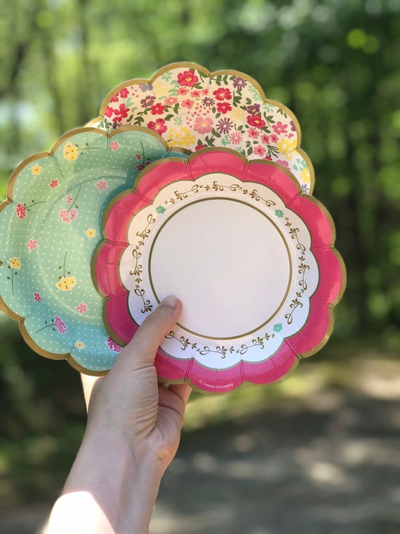Liberty Paper Plates Small (8), Party Plate Assortment, 7x7 Dessert Plate, Floral Party Decor, Girl Birthday Party, Baby Shower