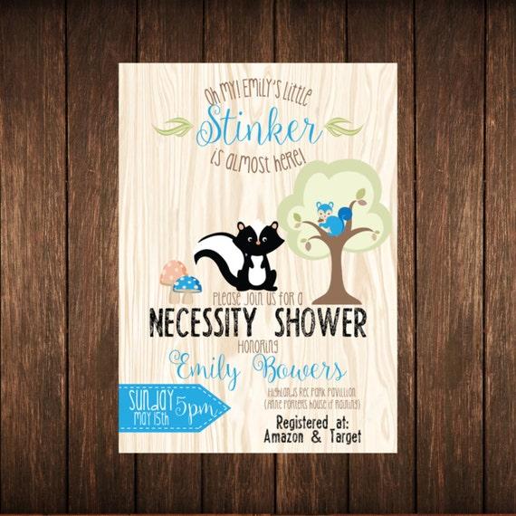 Woodland Animal Forest Necessity Baby Shower Invitation