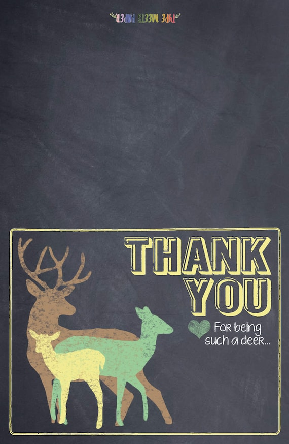 Chalkboard Deer Baby Shower Thank You Card