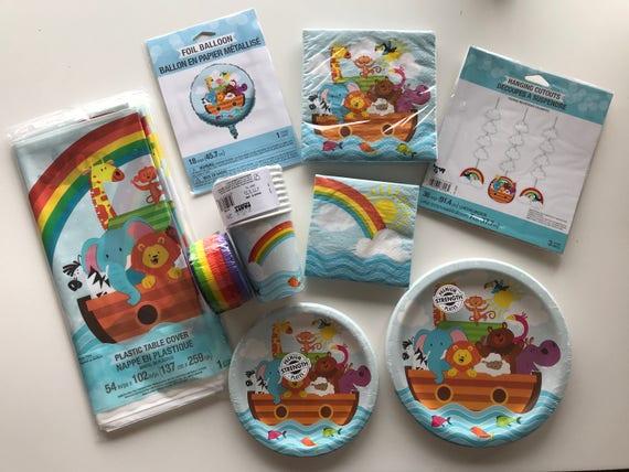 Noahs Ark Twin Birthday Shower Kit Bundle Party (8 Place Settings) Rainbow Baby Creative Converting