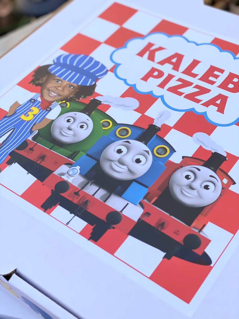 Thomas the Train Customized Pizza Boxes Favors and DIY Labels