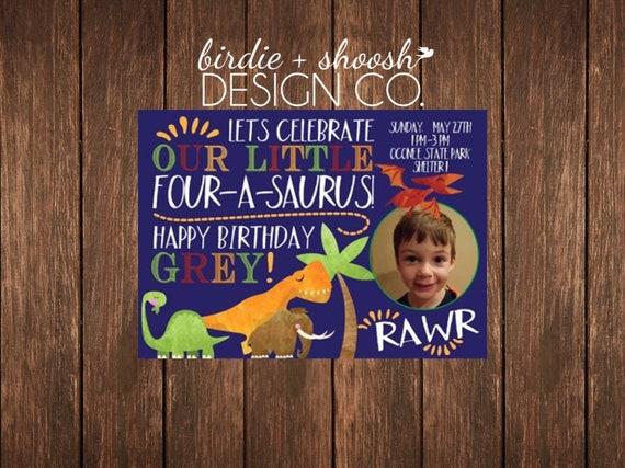 Dinosaur T-Rex Saurus 1 2 3 4 5 6 7 Custom Birthday Invitation PRINTED