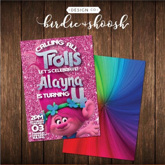 Trolls Poppy Rainbow Glitter Birthday Invitation PRINTED W ENVELOPES
