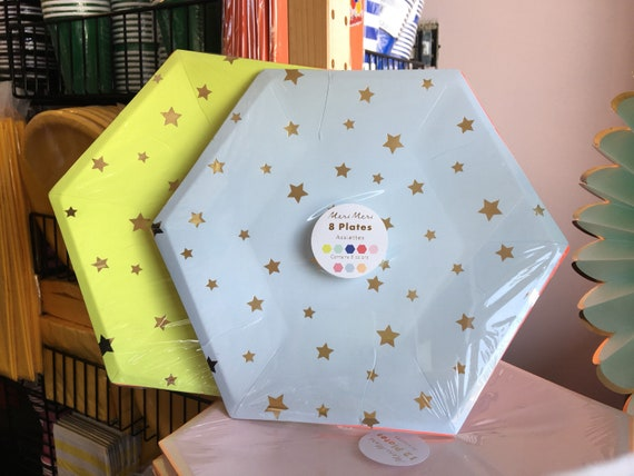 Star Assorted Plates (8), Meri Meri Party Plate Assortment, 8x8 Plates, party decor, shower, birthday