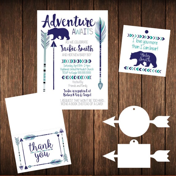 Adventure Bear Woods Arrows Baby Shower or Birthday Printable Invitation