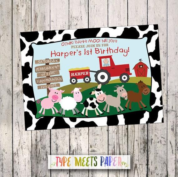 Country Farm Animals Birthday Invitation