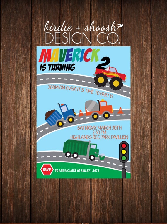 Construction Bus Dump Garbage Trucks 1 2 3 4 5 6 7 Custom Birthday Invitation PRINTED