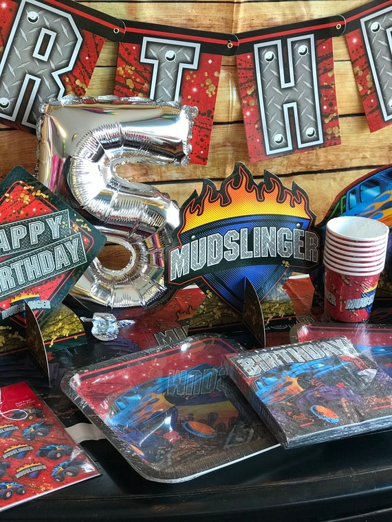 Monster Truck Birthday Party Plates Large 8 CT