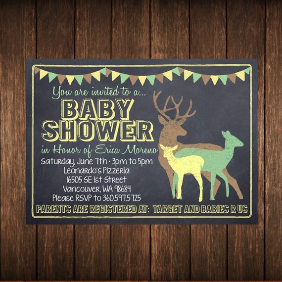 Chalkboard Deer Baby Shower Invitation