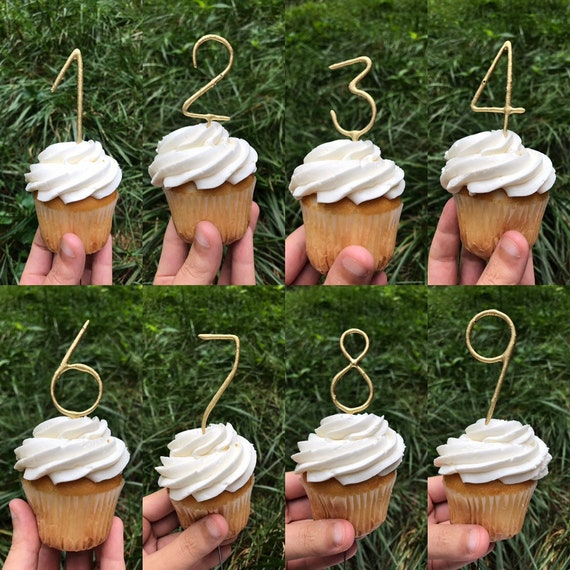 Gold Number Cake Topper Candles