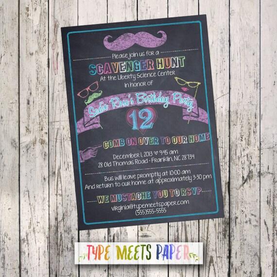 Set of 16 Chalkboard Mustache Birthday Bat Mitzvah Invitations + Envelopes