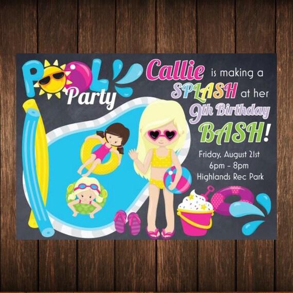 Pool Party Birthday Invitation Splas