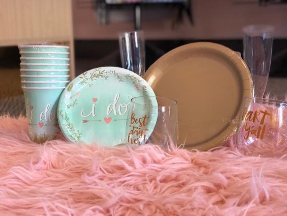 "Beautiful ""I Do""Paper Plates (8), Bridal Shower Decor"