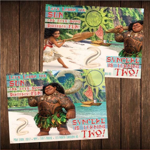 Set of 16 Moana Maui Disney Birthday Beach Hawaiian Invitations PRINTED