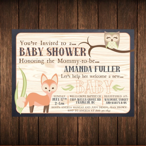 Fox & Owl Shower Chalkboard Invitation