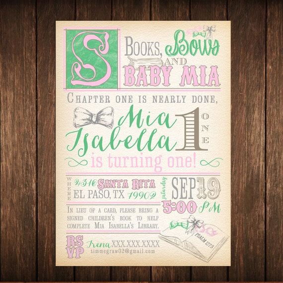 B is for Baby, Bows & Books Shower Invitaiton