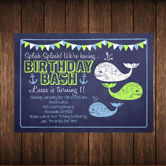 Chalkboard Nautical Whale and Anchor Birthday Printed Invitation