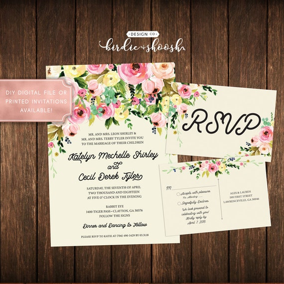 Floral Vintage Bridal  Wedding Invitation
